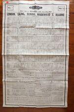 1948 Western Region Railway Timetable Poster Slough Maidenhead Ealing Reading