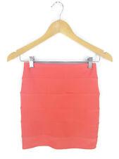 DOTTI Skirt - Bandage Bodycon Mini Pencil Coral Pink Stretch Panel Club - 6/XS