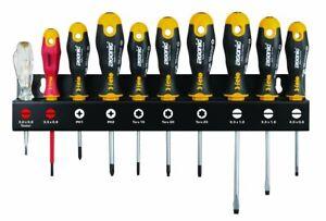 Felo 10 Piece Screwdriver Set Pozi, Torx & Slotted Ergonic XL Tool Rack 40091043