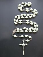 """Vintage Glow In The Dark 5 Decade Rosary Silver Tone Crucifix Italy 31"""" B2989"""
