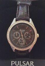 Pulsar Womens Watch Multifunction Chronograph Swarovski Crystals Brown Dial NEW!