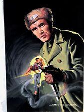 Gouache Jef de Wulf original couverture à identifier / roman espionnage 4 pin up