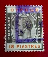 Cyprus:1924 King George V - New Design 18 Pia Rare & Collectible stamp.