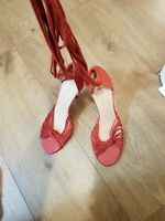 TED BAKER LACE UP SANDALS LEATHER HEELS SIZE UK3, COLOUR CORAL RED COLOUR