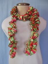 """New Hand Made Colorful Thread Ribbon Twisted Ruffled Scarf 52"""" Long"""
