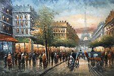 Canvas Wall Art Modern Decor Oil Painting,Eiffel Tower,Paris Street,61X91cm