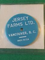 Vintage Token Jersey Farms Vancouver B.C. 1/2 Quart Homo Milk Coin T5