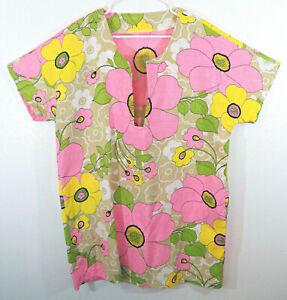 """MOD vintage Floral Barkcloth Swimsuit Coverup Tunic Dress L/XL (48"""" bust)"""