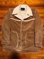 Vintage Velour Suede Sherpa Brown Jacket Coat Large Made In USA