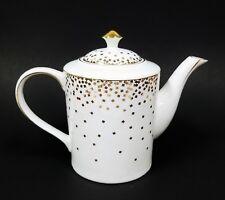 NEW NICOLE MILLER OFF WHITE+METALLIC GOLD CONFETTI TEA,COFFEE POT,TEAPOT  42 OZ.
