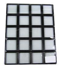 20 PCS OF GLASS TOP BLACK PLASTIC WHITE INSERTION DISPLAY BOX GEM HOLDER 5X5CM.