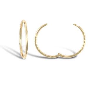 9CT GOLD DIAMOND CUT HINGED SLEEPER EARRINGS 12MM-16MM Erin Rose Jewel Co