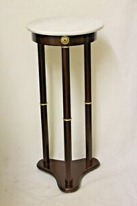 Colonial-style Mahogany/Cherry Finish Marble Top Plant Stand