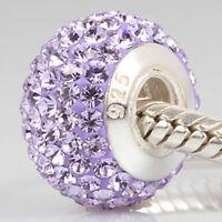.925 Sterling Silver Crystal Birthstone Charm Bead Fit European Bracelet SS232