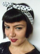 Bandeau foulard cheveux rigide modulable cordon maléable blanc pois noirs pinup
