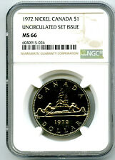 1972 $1 CANADA NICKEL VOYAGEUR NGC MS66 UNCIRCULATED DOLLAR POP ONLY 14 KNOWN