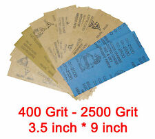 16 pc 3.5inch * 9 inch Wet & Dry Emery Sandpaper Sheets Mixed Grit 400 - 2500