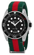Gucci Dive 45mm Black Matte Dial Green Red Web Nylon Watch YA136209