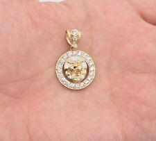 """1 1/4"""" Lion Head CZ Bordered Medallion Charm Pendant Real Solid 10K Yellow Gold"""