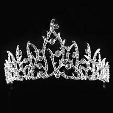 Wedding Bridal Crown Princess Austrian Rhinestone Prom Hair Tiara Veil Headband