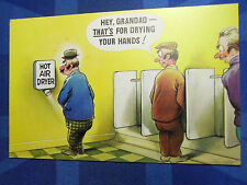 A Bamforth Comic Postcard 1970s Plumber Toilet HOT AIR DRYER Theme No 680
