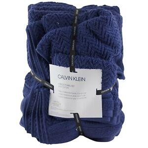 Calvin Klein Bath Hand Towel Washcloth 6 Pc Bathroom Set Dark Blue