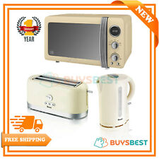 Swan Retro 20L Microwave, Cordless Design 1.7L Jug Kettle & 4 Slice Toaster Set