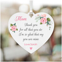 Personalised MUM MUMMY NANNY NANNA Heart Sign Plaque Birthday Gifts for Her