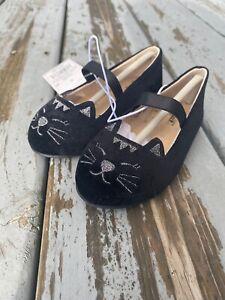 Cat & Jack Toddler Girls Macey Kitten Ballet Flats Sz 4 Black