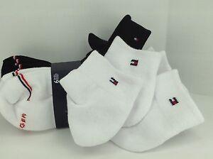 Women's TOMMY HILFIGER White Black 80% COTTON Quarter Crew Socks 6 Pack $36 MSRP