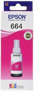 3 x70ml Epson Ecotank refill Ink Bottle set 1 Yellow T6644 2 Magenta Pink T6643