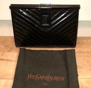 Vintage Yves Saint Laurent Chevron YSL Leather Clutch Bag Black With storage bag
