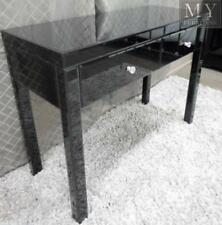 VEGAS Black Glass Mirrored Console Hallway Dressing Table