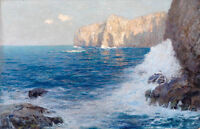 Oil painting seascape with ocean waves and huge rocks by beach in sunset views