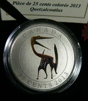 2013 Canada Glow-In-The-Dark Dinosaur 25-Cent Colored Coin - Quetzalcoatlus