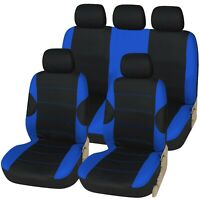 Racing Black with Blue Panels Deluxe Luxury Full Car Set Seat Cover Protectors
