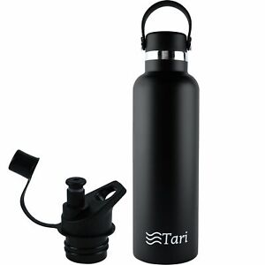 TARI Stainless Steel Bottle Wide Mouth Leakproof Flex Cap Insulated 25 Oz, Black