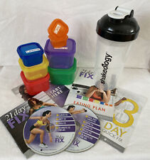 Beachbody 21 day fix 2 Dvd's & 7 food containers w/ lids & 1 shakeology shaker