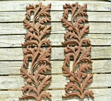 (2) Cast Iron Architectural Salvage Ornate Rusty Garden Panels Acorn Leaves