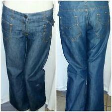 Da Donna Stretch Denim Jeans Bootcut A Vita Bassa Blu Scolorito UK 6 8 10 12 14
