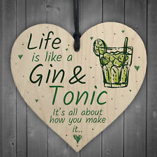 Life Is Like Novelty Kitchen Heart Wood Plaque Birthday Garden Alcohol Gin Sign