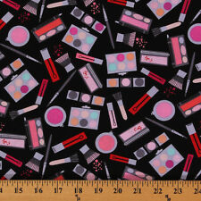 Jet Set Black Makeup Products Brush Lipstick Cotton Fabric Print by Yard D461.03