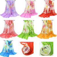 Fashion Women Long Soft Scarf Lady Chiffon Shawl Flower Print Stole Scarves Wrap