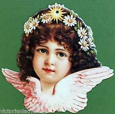 Victorian Christmas Ornament Angel Face Gold Star in Hair Old Print Factory