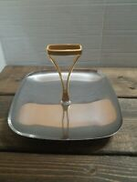 Mid Century Modern Chrome Hors d'oeuvres Tidbit Tray Handle Atomic 1950s Holiday