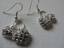 Dos Love Corazones En Un Anillo Diamante Plata Gota Colgante pendientes Nueva Bolsa De Regalo