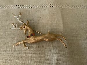 Vintage Christmas Deer Rhinestone Brooch Reindeer Holiday Enamel Pin Signed Hedy