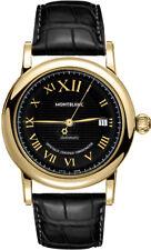 NEW MONTBLANC STAR 103093 SOLID YELLOW GOLD LUXURY MEN'S WATCH W/ BLACK STRAP