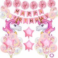 Unicorn Birthday Decorations, Happy Birthday Party Banner, Pom Poms and Balloons
