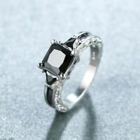 Gorgeous Women 925 Silver Wedding Rings Black Sapphire Ring Size 6-10
